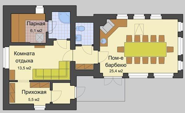 Проект бани-гостевого домика террасой и барбекю