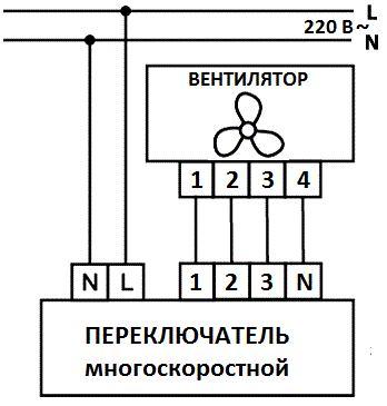 схема подключения многоскростного вентилятора