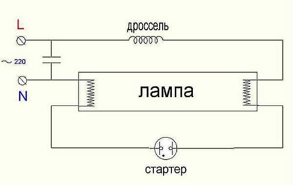 Схема включения люминесцентной лампы со стартером