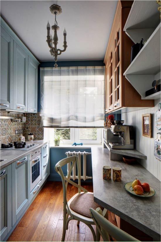 Синий и голубой цвет в интерьере кухни