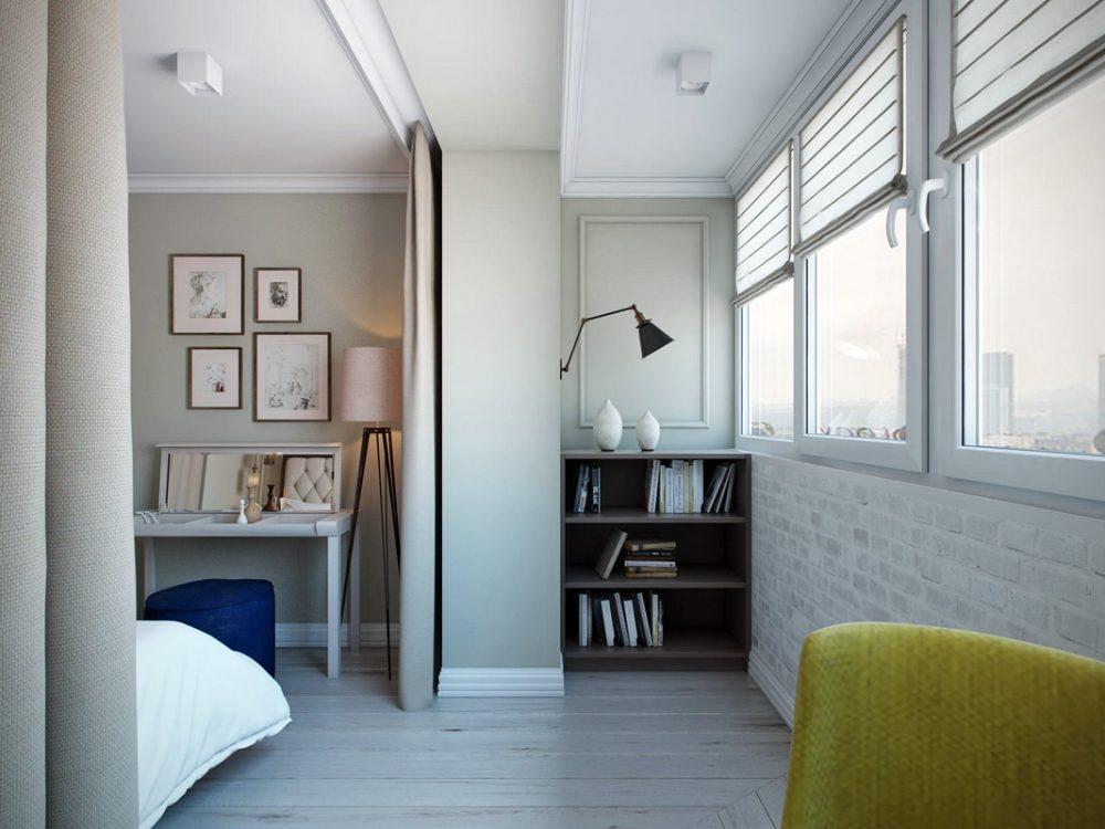 скандинавский дизайн спальни с балконом