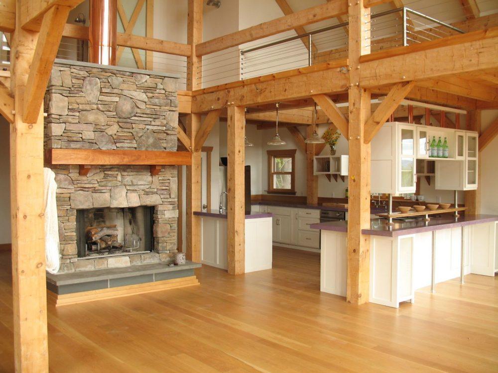 Современный интерьер с использованием древесины