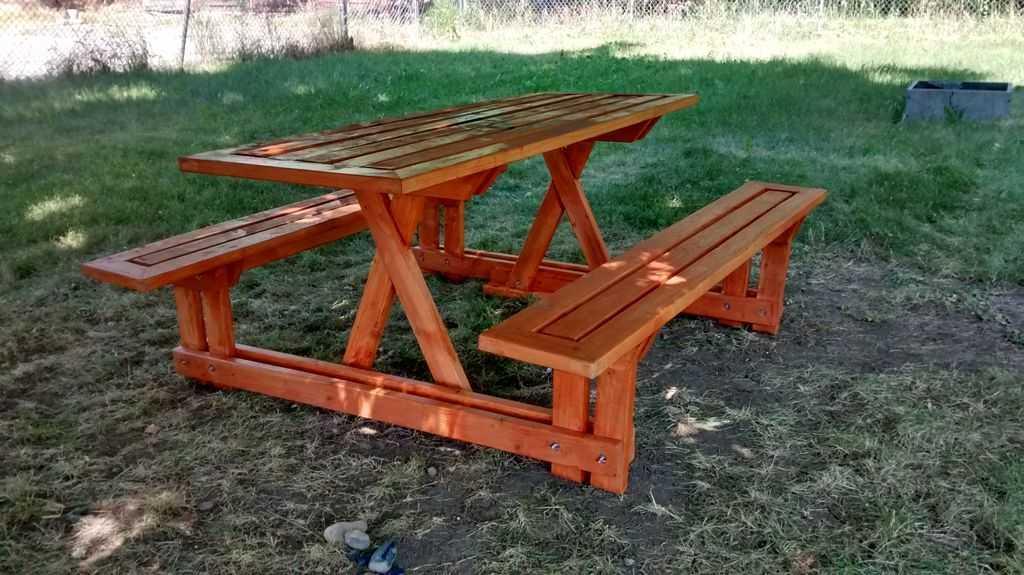 Уличный стол для дачи со скамейками