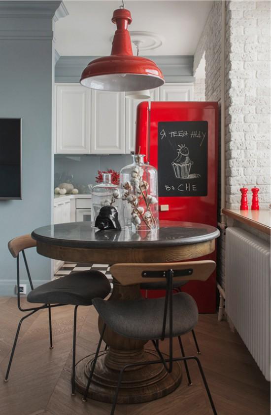столовая зона на кухне-гостиной в хрущевке