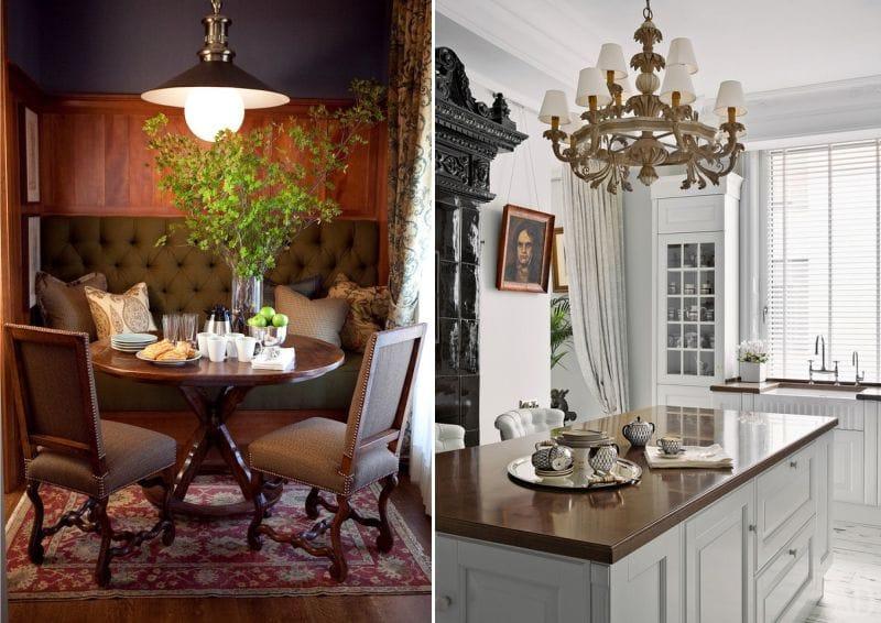 Светильники в английском стиле в интерьере кухни