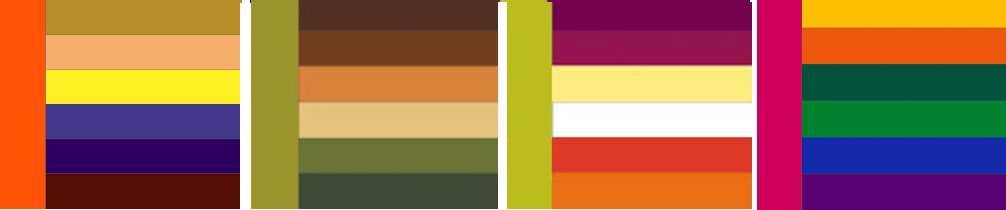 Таблицы гармоничных сочетаний цветов в интерьере могут быть представлены в таком виде