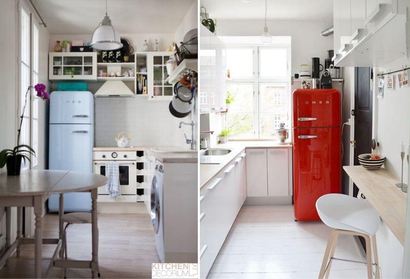 Угловая узкая кухня с обеденной зоной