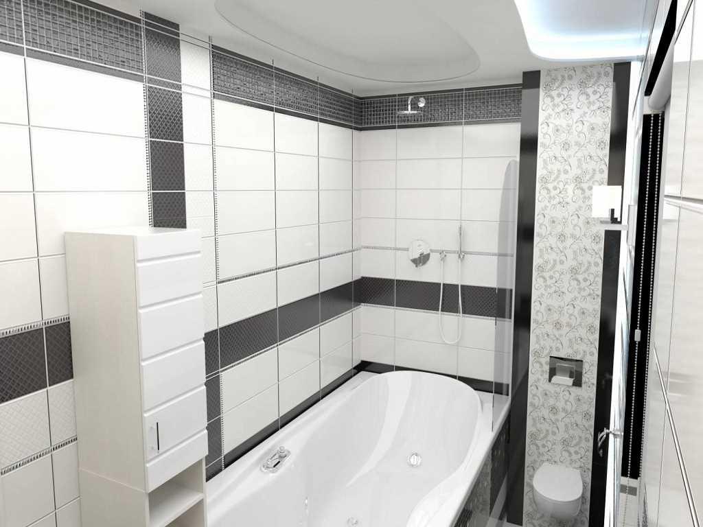 вариант красивого интерьера ванной комнаты в черно-белых тонах