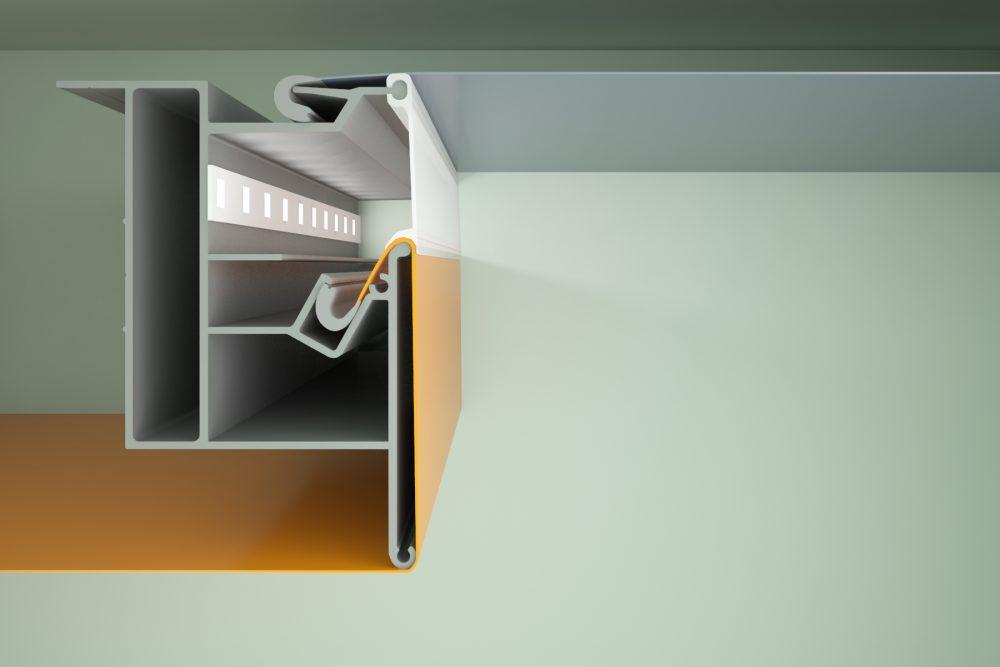 вариант применения гарпунной системы крепления натяжных потолков в отделке квартиры