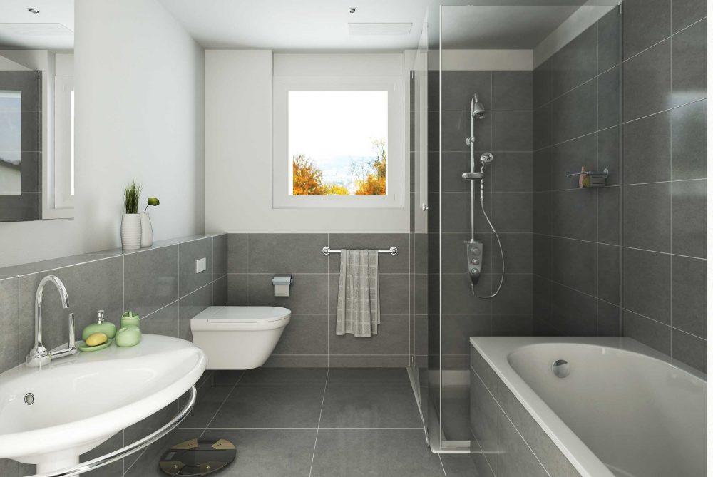 вариант яркого интерьера ванной с окном