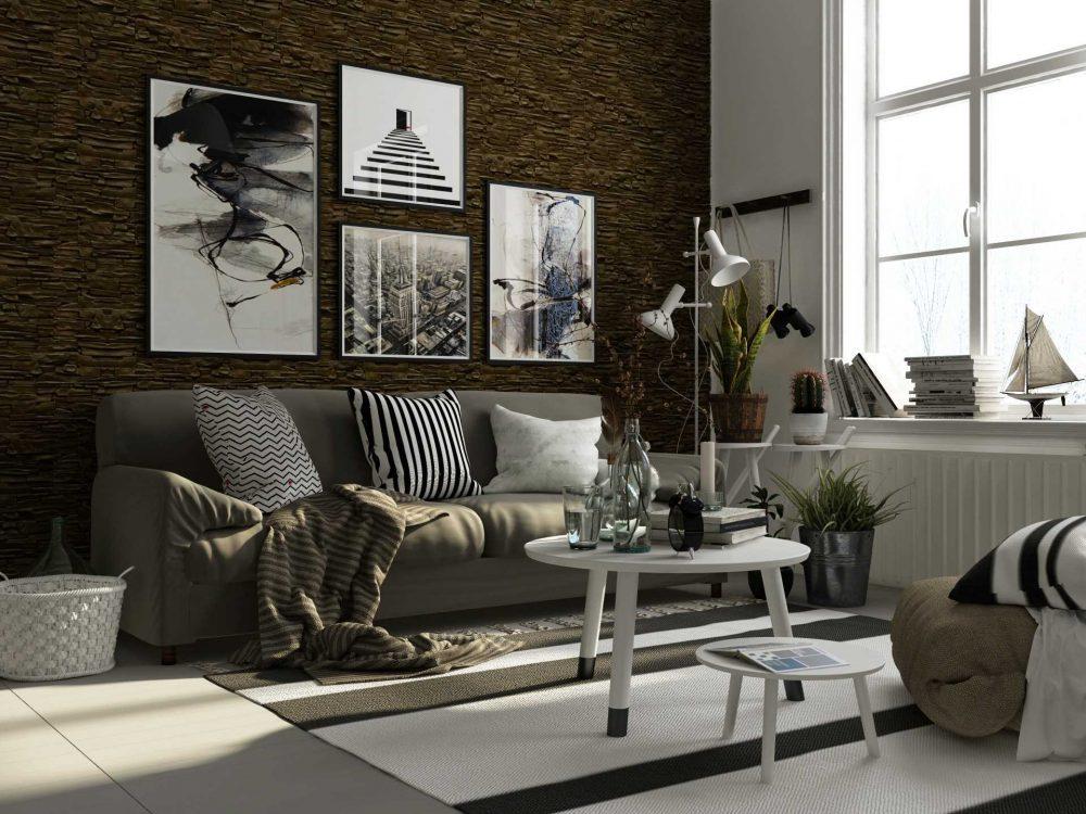 вариант яркого декоративного камня в интерьере комнаты