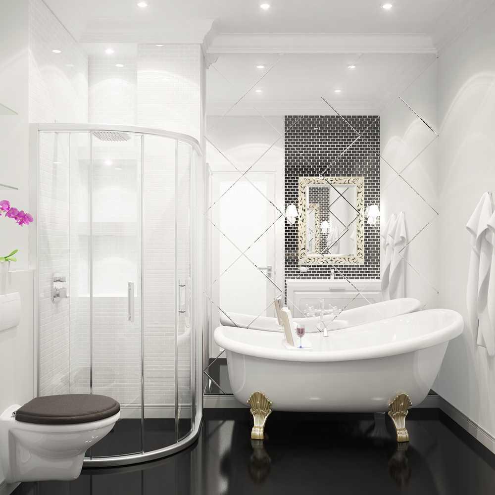 вариант красивого стиля ванной в черно-белых тонах