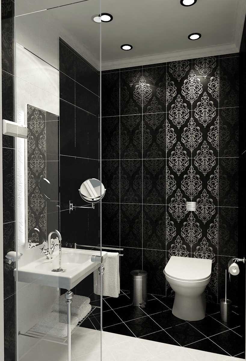 вариант современного дизайна ванной комнаты в черно-белых тонах