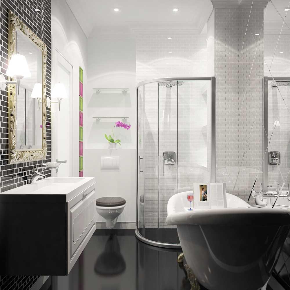 идея яркого стиля ванной в черно-белых тонах