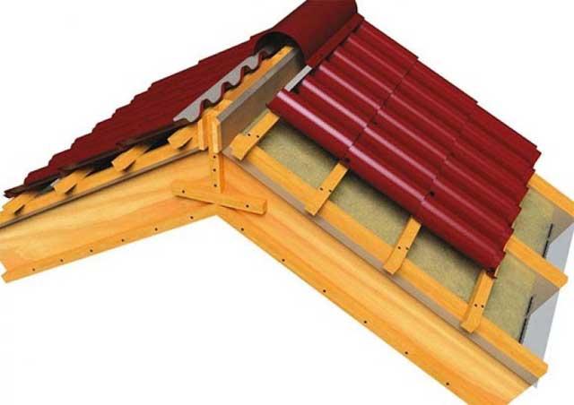 зазоры под коньковой планкой на крыше из металлочерепицы
