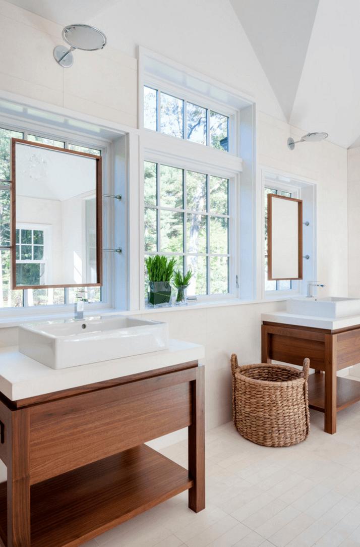 Оригинальный дизайн зеркала в интерьере ванной комнаты - Фото 7