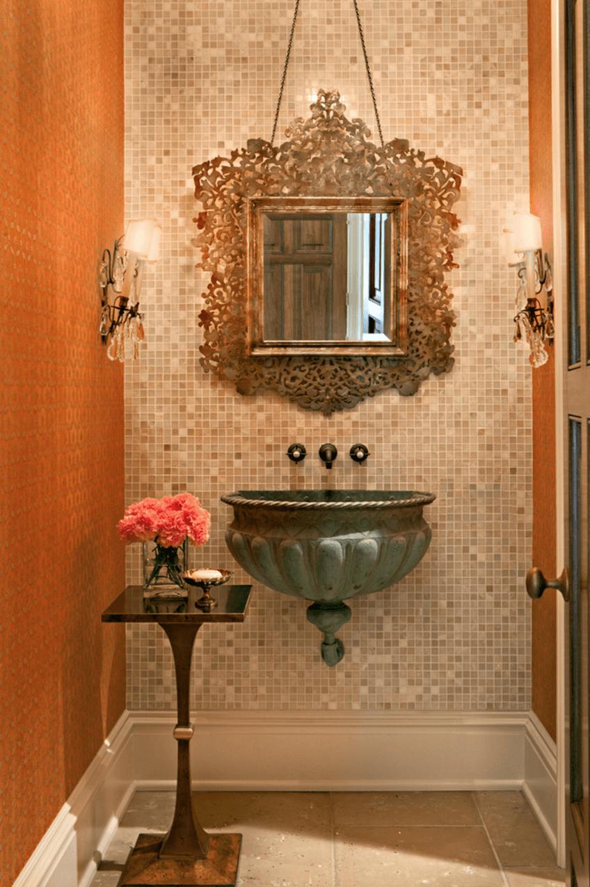 Оригинальный дизайн зеркала в интерьере ванной комнаты - Фото 12