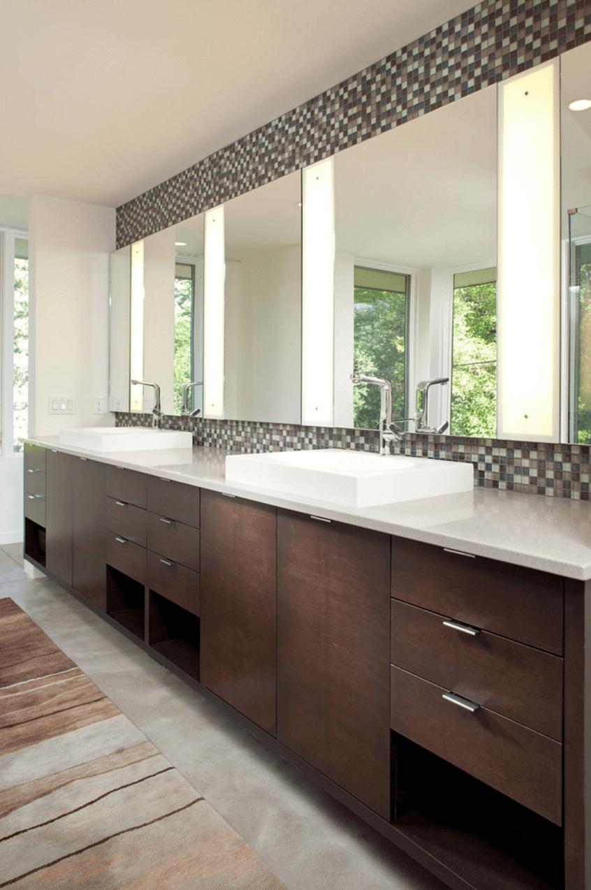 Оригинальный дизайн зеркала в интерьере ванной комнаты - Фото 13