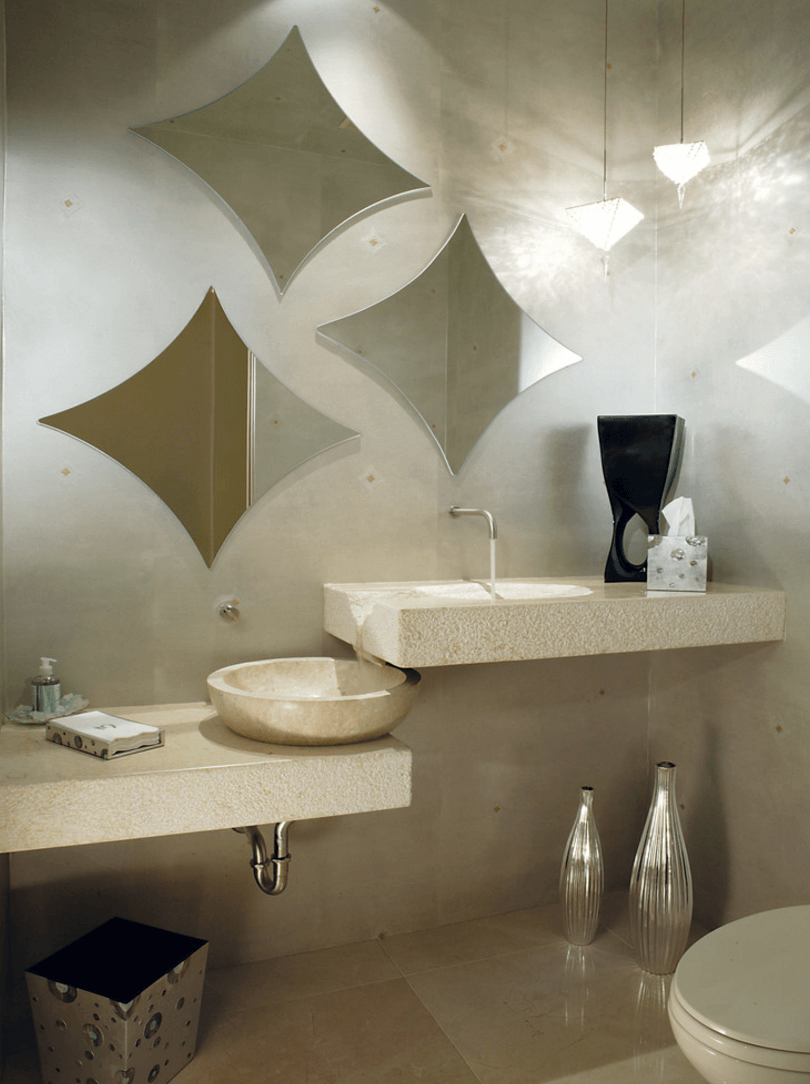 Оригинальный дизайн зеркала в интерьере ванной комнаты - Фото 18