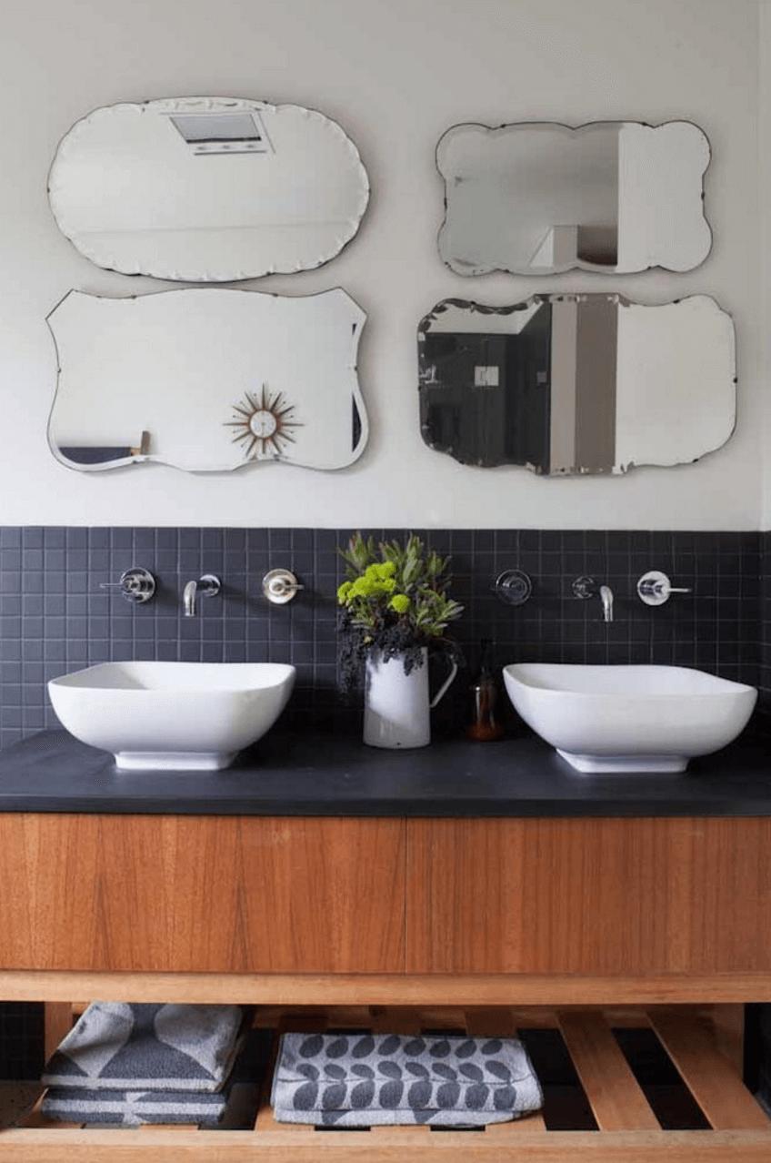 Оригинальный дизайн зеркала в интерьере ванной комнаты - Фото 19