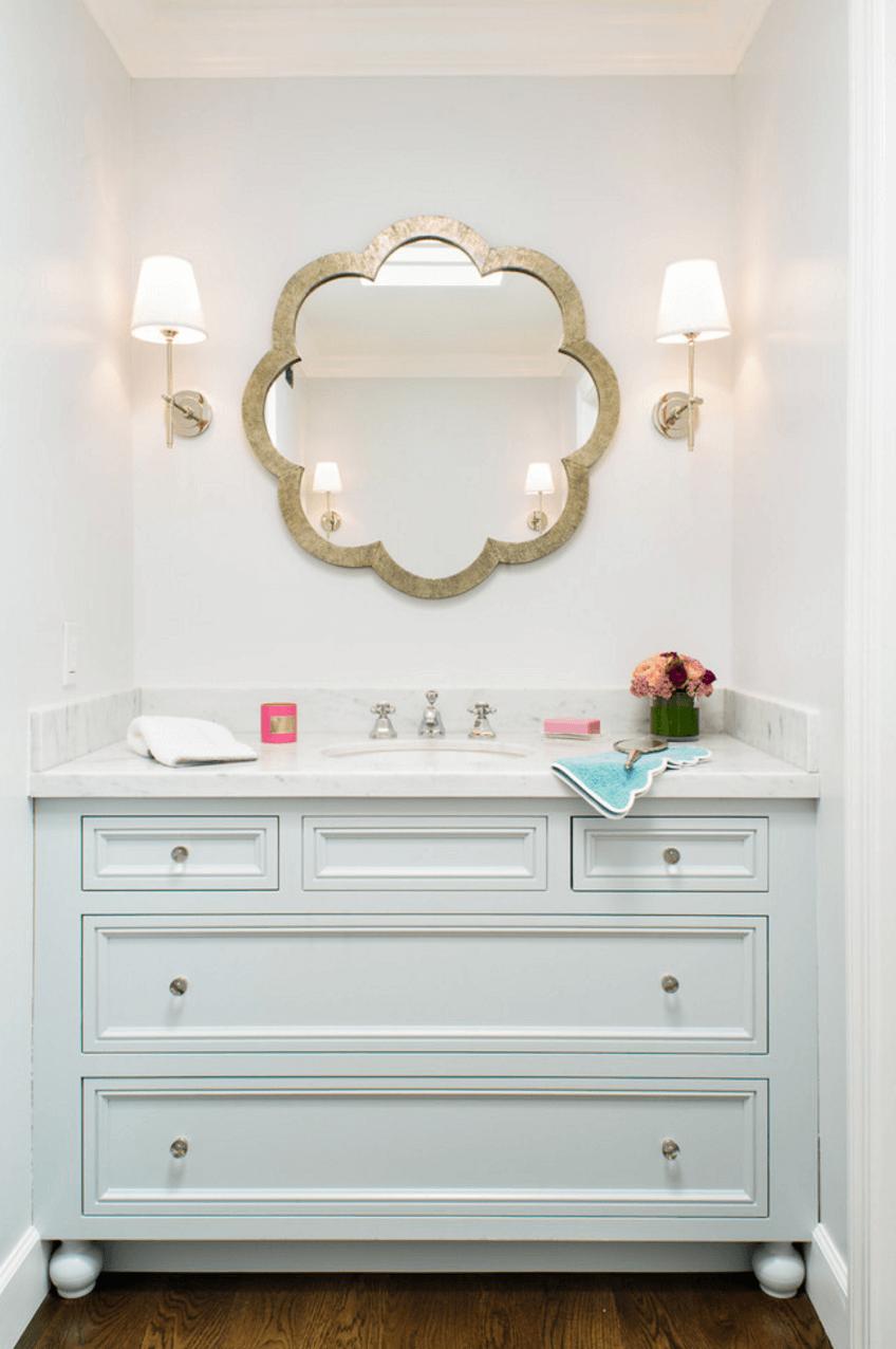 Оригинальный дизайн зеркала в интерьере ванной комнаты - Фото 24