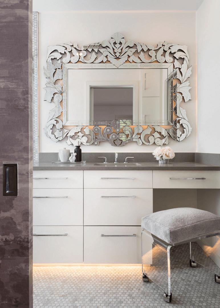 Оригинальный дизайн зеркала в интерьере ванной комнаты - Фото 29
