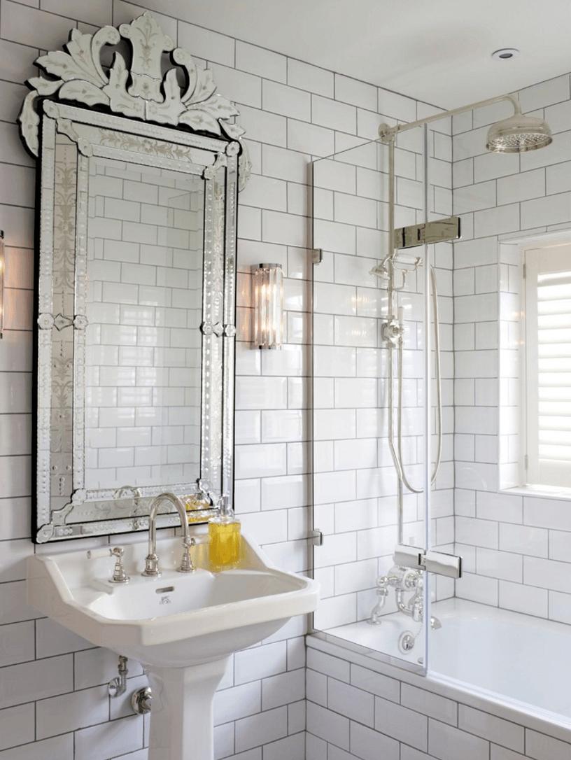 Оригинальный дизайн зеркала в интерьере ванной комнаты - Фото 31