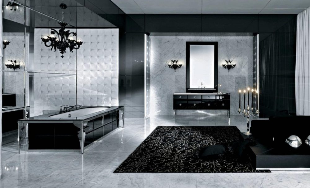 Таинственная черная ванная с мраморными акцентами