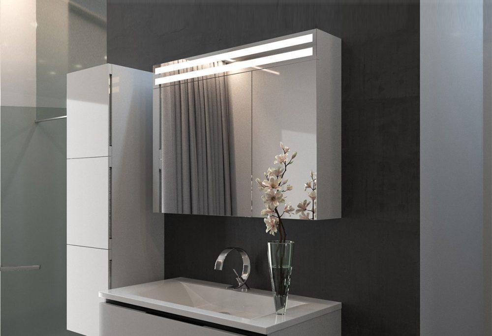 Зеркальный шкафчик с двумя продолговатыми лампами