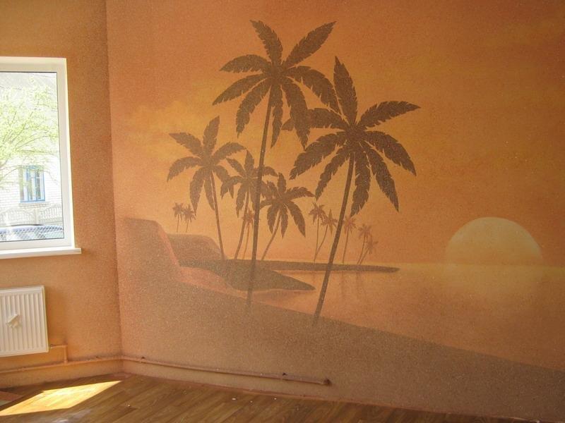 Жидкие обои с изображением пальм